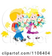 Clipart Happy Blond School Boy And Girl Carrying Daisies And Walking In Autumn Leaves Royalty Free Vector Illustration