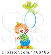 Clipart Circus Clown Holding A Hoop With A Parrot On Top Royalty Free Vector Illustration by Alex Bannykh