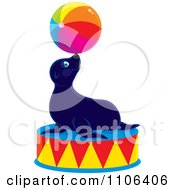 Clipart Cute Circus Sea Lion Balancing A Ball On His Nose On A Podium Royalty Free Vector Illustration