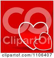 Clipart Red Background With Two Hearts And Copyspace Royalty Free Vector Illustration