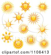 Clipart Shining Summer Sun Icons Royalty Free Vector Illustration by dero