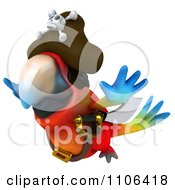 Clipart 3d Macaw Parrot Pirate In Flight Royalty Free CGI Illustration