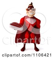 Clipart 3d Red Super Hero Guy Holding Out A Steak Royalty Free CGI Illustration
