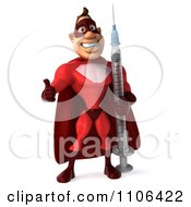 Clipart 3d Red Super Hero Guy Holding A Thumb Up And Standing With A Vaccine Syringe Royalty Free CGI Illustration