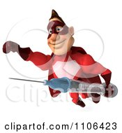 Clipart 3d Red Super Hero Guy Flying With A Vaccine Syringe Royalty Free CGI Illustration