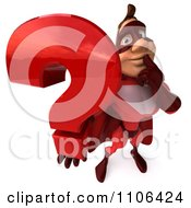 Clipart 3d Red Super Hero Guy Holding A Question Mark Royalty Free CGI Illustration