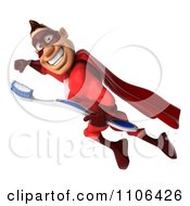 Clipart 3d Red Super Hero Guy Flying With A Tooth Brush 1 Royalty Free CGI Illustration