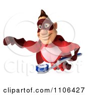 Clipart 3d Red Super Hero Guy Flying With A Tooth Brush 2 Royalty Free CGI Illustration