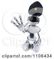 Clipart 3d Techno Robot Police Officer Holding A Hand Out To Stop Traffic 3 Royalty Free CGI Illustration