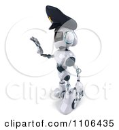 Clipart 3d Techno Robot Police Officer Holding A Hand Out To Stop Traffic 4 Royalty Free CGI Illustration
