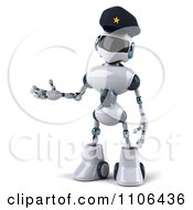 Clipart 3d Techno Robot Police Officer Holding A Hand Out To Present Royalty Free CGI Illustration