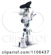 Clipart 3d Techno Robot Police Officer Holding A Hand Out To Stop Traffic 2 Royalty Free CGI Illustration