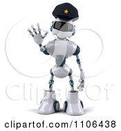 Clipart 3d Techno Robot Police Officer Holding A Hand Out To Stop Traffic 1 Royalty Free CGI Illustration