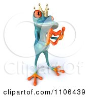 Clipart 3d Turquoise Springer Frog Prince Wearing A Crown And Forming A Heart With His Hands 2 Royalty Free CGI Illustration