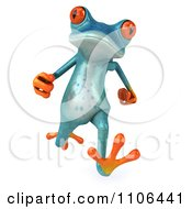 Clipart 3d Turquoise Springer Frog Running 1 Royalty Free CGI Illustration