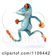 Clipart 3d Turquoise Springer Frog Running 3 Royalty Free CGI Illustration