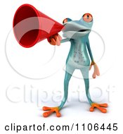 Clipart 3d Turquoise Springer Frog Announcing With A Megaphone 1 Royalty Free CGI Illustration