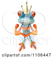 3d Turquoise Springer Frog Prince Wearing A Crown And Forming A Heart With His Hands 1