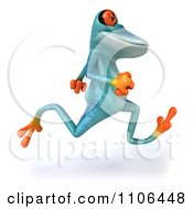 Clipart 3d Turquoise Springer Frog Running 2 Royalty Free CGI Illustration