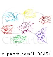 Clipart Colorful Aquarium Fish Icons Royalty Free Vector Illustration by Vector Tradition SM