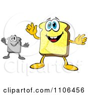 Grayscale And Colored Sliced Bread Mascots
