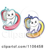 Clipart Happy Dental Teeth Being Scrubbed With Brushes Royalty Free Vector Illustration