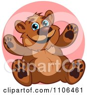 Clipart Happy Teddy Bear Over A Pink Circle Royalty Free Vector Illustration