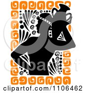 Clipart Silhouetted Greek Man Carrying A Vase With Orange Designs Royalty Free Vector Illustration