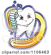 Clipart Happy Dental Tooth Being Scrubbed With A Yellow Brush Royalty Free Vector Illustration