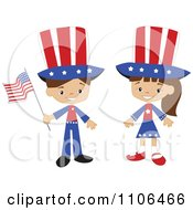 Clipart Happy American Kids In Independence Day Costumes Royalty Free Vector Illustration