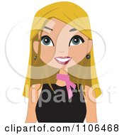 Clipart Happy Blond Woman Wearing A Pink Neck Scarf Royalty Free Vector Illustration