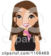 Clipart Happy Brunette Woman Wearing A Pink Neck Scarf Royalty Free Vector Illustration by peachidesigns #COLLC1106469-0137