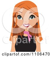 Clipart Happy Red Haired Woman Wearing A Pink Neck Scarf Royalty Free Vector Illustration by peachidesigns #COLLC1106470-0137