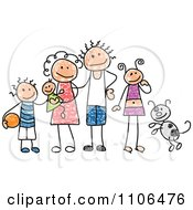 Clipart Stick Drawing Of A Happy White Family With Their Dog Royalty Free Vector Illustration by C Charley-Franzwa #COLLC1106476-0078