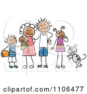 Clipart Stick Drawing Of A Happy Black Family With Their Dog Royalty Free Vector Illustration