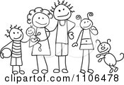 Clipart Black And White Stick Drawing Of A Happy Family With Their Dog Royalty Free Vector Illustration by C Charley-Franzwa