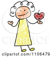 Stick Drawing Of A Happy Female Teacher Holding An Apple