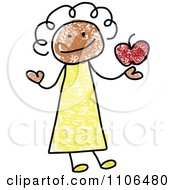 Stick Drawing Of A Happy Black Female Teacher Holding An Apple