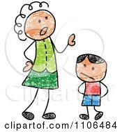 Clipart Stick Drawing Of A Mother Scolding Her Son Royalty Free Vector Illustration