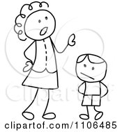 Clipart Black And White Stick Drawing Of A Mother Scolding Her Son Royalty Free Vector Illustration