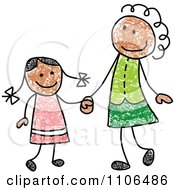 Stick Drawing Of A Happy Black Mother And Daughter Holding Hands