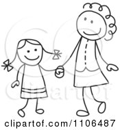 Black And White Stick Drawing Of A Happy Mother And Daughter Holding Hands