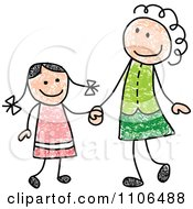 Stick Drawing Of A Happy White Mother And Daughter Holding Hands