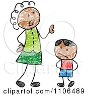 Clipart Stick Drawing Of A Black Mother Scolding Her Son Royalty Free Vector Illustration