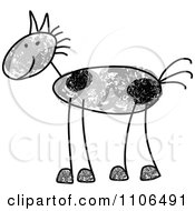 Clipart Stick Drawing Of A Happy Gray Spotted Horse Royalty Free Vector Illustration