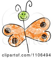 Clipart Stick Drawing Of A Happy Orange Butterfly Royalty Free Vector Illustration
