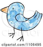 Clipart Stick Drawing Of A Blue Bird Royalty Free Vector Illustration
