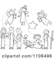 Clipart Black And White Stick Drawings Of Nativity Scene People Royalty Free Vector Illustration