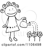 Black And White Stick Drawing Of A Happy Girl Watering Flowers In Her Garden