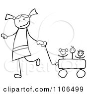 Black And White Stick Drawing Of A Happy Girl Pulling Her Toys In A Wagon